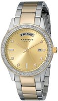 Akribos XXIV Women's AK691TTG Impeccable Silver-tone and Gold-tone Stainless Steel Crystal Bezel Bracelet Watch