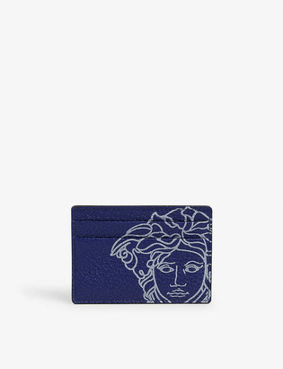 Versace Graphic-print leather cardholder