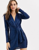 John Zack sequin plunge front wrap dress in light navy