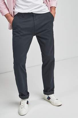 Next Mens Navy Straight Fit Comfort Waist Stretch Chinos - Blue