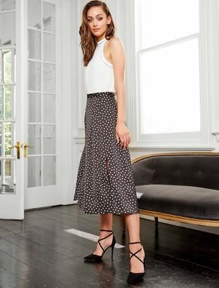 Forever New Nadia Pleated Spot Skirt - Black/Porcelain - 12