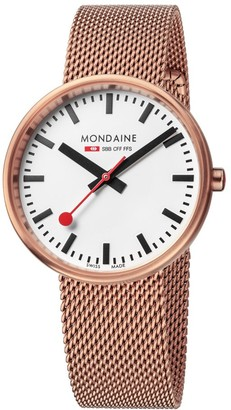 Mondaine SBB Mini Giant Elegant Wrist Watch Women (Model: A763.30362.22SBM) Swiss Made Railway Design Stainless-Steel-Plated Strap