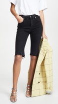 A Gold E Agolde Carrie Long Length Slim Shorts