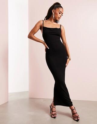 ASOS DESIGN cami cowl-neck maxi dress in black