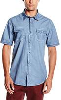 Tom Tailor Men's Short Sleeve Casual Shirt - Blue -