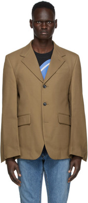 we11done Tan Embossed Logo Blazer