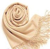 Leewa New Trendy ! Fashion Women/Girls Pashmina Cashmere Silk Solid Shawl Wrap Scarf (170 X 70cm, Beige)