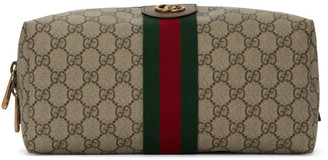 Gucci Beige GG Supreme Ophidia Toiletry Case