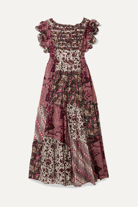 Ulla Johnson Zoya Cutout Floral-print Cotton And Silk-blend Maxi Dress - Fuchsia