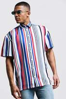 BoohooMAN Vertical Stripe Oversized Short Sleeve Shirt