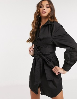 Saint Genies wrap tie detail long-sleeved shirt dress in black