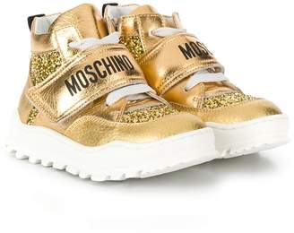 Moschino Kids glitter high top sneakers