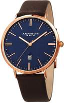 Akribos XXIV Men's Quartz Easy-to-Read Date Leather Watch, 42mm