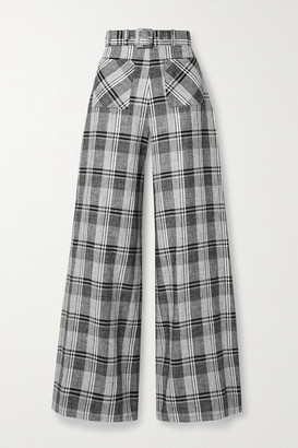 Miguelina Rita Belted Checked Linen Wide-leg Pants - Black