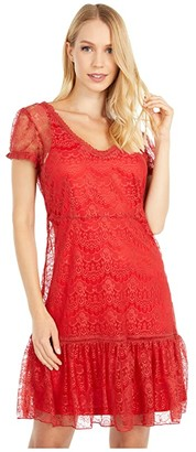 Scully Hannah Cap Sleeve Lace Dress (Sunset) Women's Clothing