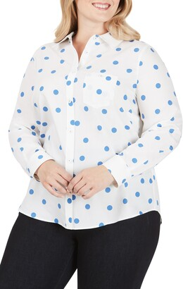 Foxcroft The Hampton Flirty Dot Button-Up Shirt