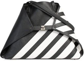 Akris Medium AI Horsehair-Stripe Leather Tote