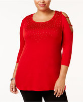 Belldini Plus Size Embellished Cold-Shoulder Tunic