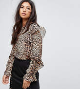 Missguided Leopard Print Frill Blouse