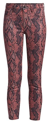 L'Agence Margot High-Rise Ankle Skinny Coated Python-Print Jeans