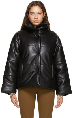 Nanushka Black Faux-Leather Puffer Jacket