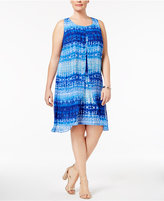 NY Collection Plus Size Tie-Dyed Flyaway Dress