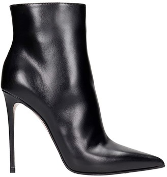 Le Silla Eva 120 High Heels Ankle Boots In Black Leather