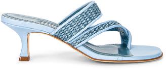 Manolo Blahnik Susa 50 Raffia Sandal in Light Blue   FWRD