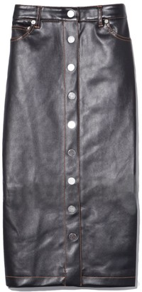 Proenza Schouler Button Front Faux Leather Midi Skirt in Black