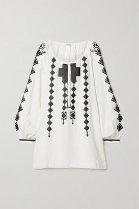 Fil De Vie Embroidered Linen Mini Dress - White