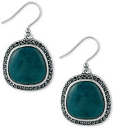 Lucky Brand Silver-Tone Black Pavé and Blue Stone Drop Earrings
