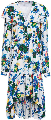 MSGM Asymmetric Ruffled Floral-print Crepe Dress