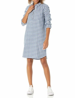 Goodthreads Amazon Brand Women's Flannel Long Sleeve Relaxed Fit Popover Shirt Dress