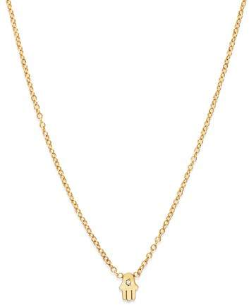Chicco Zoë 14K Yellow Gold Itty Bitty Hamsa Diamond Necklace, 16""