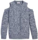 Design History Girls' Cable Knit Cold-Shoulder Top