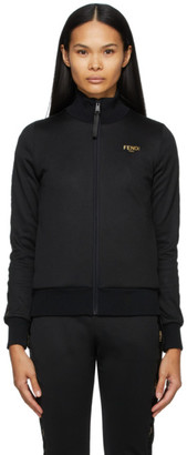 Fendi Black Logo Zip-Up Sweater