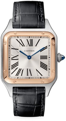 Cartier Santos Dumont de Large 18K Rose Gold, Stainless Steel & Black Alligator-Strap Watch