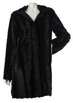Dennis Basso A-line Textured Faux Fur Coat