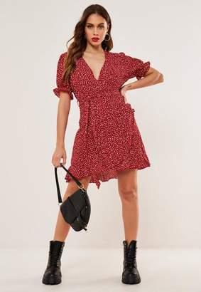 Missguided Red Polka Dot Ruffle Hem Tea Dress