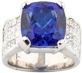 18k White Gold Tanzanite and Diamond Ring Size 6