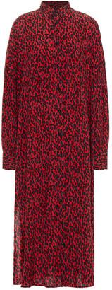 IRO Leopard-print Twill Midi Shirt Dress