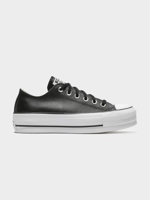 Converse Chuck Taylor All Star Platform Clean Leather Low-Top Sneakers in Black