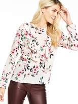 Very Printed Fluted Sleeve Ruffle Blouse