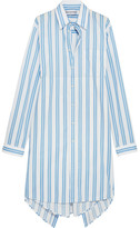 Balenciaga Asymmetric Paneled Striped Cotton Shirt Dress - Blue