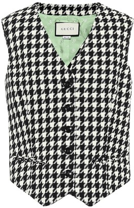 Gucci Houndstooth wool and cotton vest