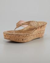 Stuart Weitzman Clasp Cork-Wedge Thong Sandal