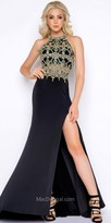 Mac Duggal Jewel Beaded Halter Cutout Column Prom Dress