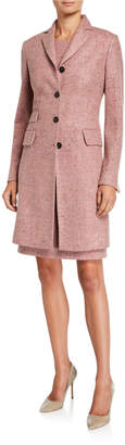 Kiton Silk-Blend Marled Suiting Coat