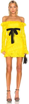 Brognano BROGNANO Off the Shoulder Lace Mini Dress in Yellow | FWRD
