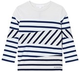 Burberry White and Navy Stripe Vincent Long Sleeve Tee